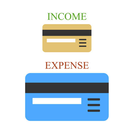 non cash: Small and big bank cards as sings of income and expense