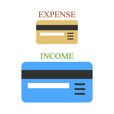 non cash: Small and big bank plastic cards as sings of income and expense Illustration