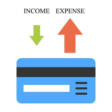 Bank card with arrows. Low income and high expense Illustration