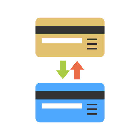 non cash: Two cards with arrow as sign of non-cash bank transactions