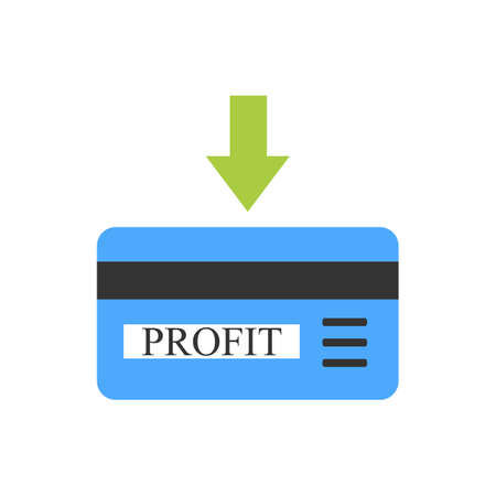 non cash: Blue bank card with arrow as sign of coming profit