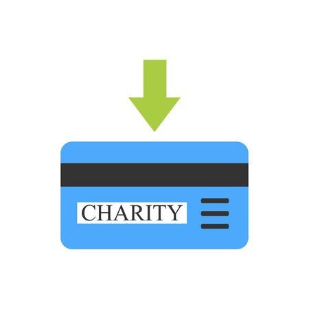 non cash: Bank card with green arrow as sign of charity donation
