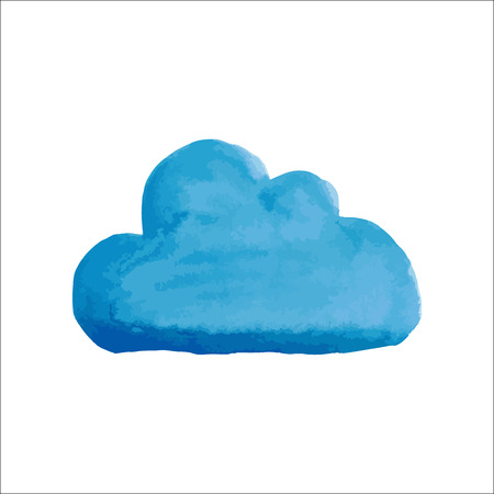 water color: Blue water color cloud on white background Illustration