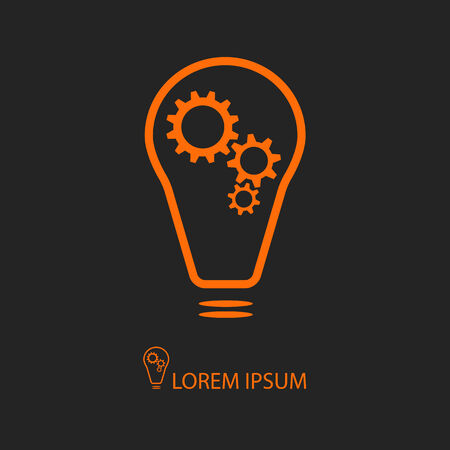 idea lamp: Orange bulb with gear wheels as on black background Illustration