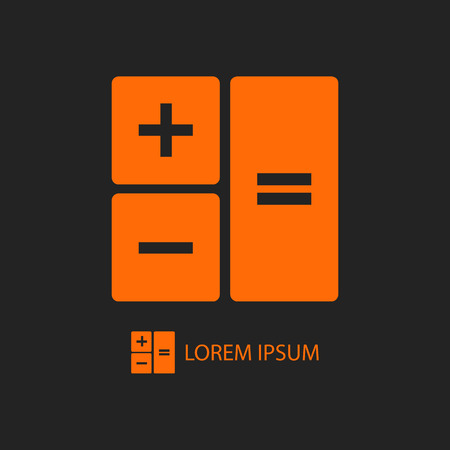 copyspace: Orange calculator as logo with copyspace on black background