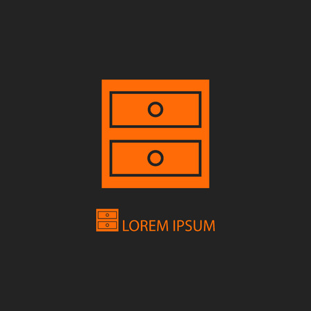 copyspace: Orange chest of drawers as icon on black background  with copyspace