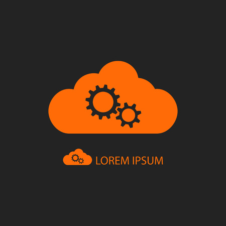 copyspace: Orange cloud with gear wheels as icon on black background with copyspace Illustration