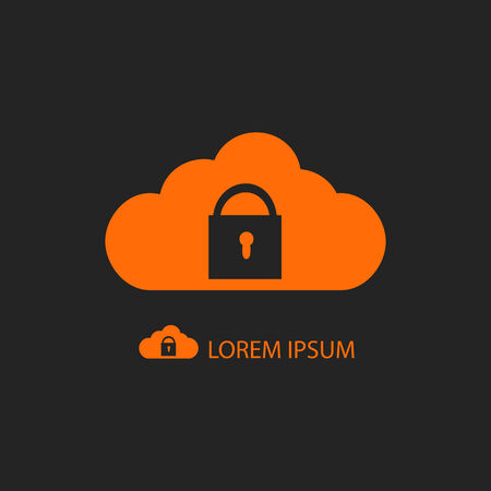 copyspace: Orange cloud with lock as icon with copyspace on black background Illustration