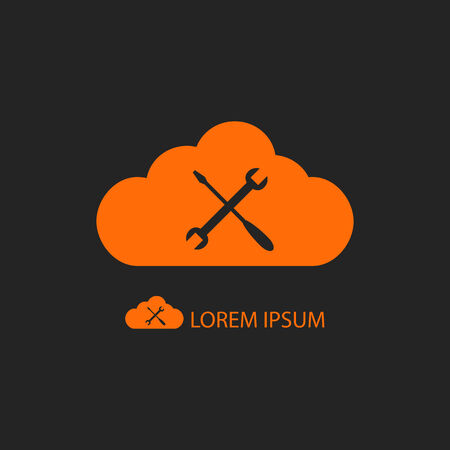 copyspace: Orange cloud with settings sign as icon with copyspace on black background