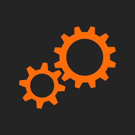 tooling: Two orange gear wheels on black background