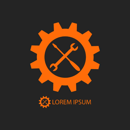 tooling: Orange gear wheel and tools as logo with copy space on black background Illustration