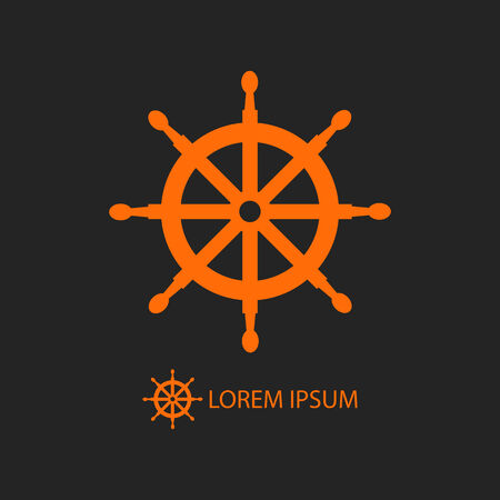 dockyard: Orange helm as icon with copyspace on black background Illustration