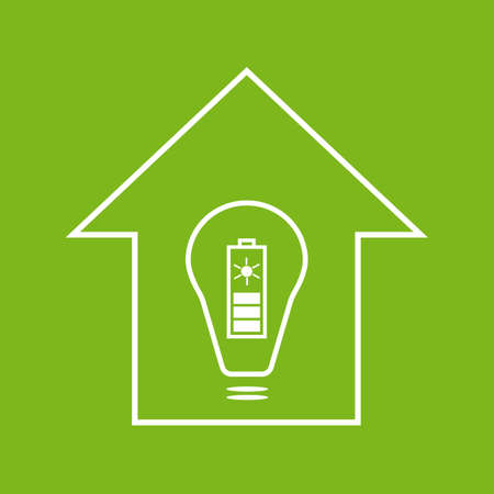 solar battery: Eco house with solar battery as energy source. White on green illustration Illustration