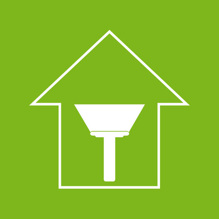 remount: Simple white house with paint scraper on green background. Repair symbol Illustration