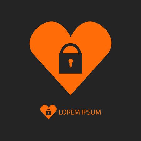 secret love: Coraz�n anaranjado con el bloqueo como icono con copyspace sobre fondo negro