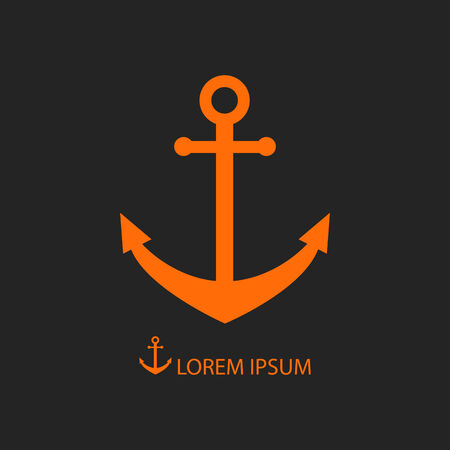 dockyard: Orange anchor as icon with copyspace on black background