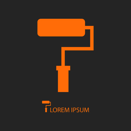remount: Orange paddle roller as icon on black background with copy space.  Repair symbol Illustration