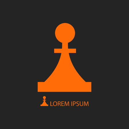 tactic: Orange piece as icon on black background. Strategy and logic Illustration