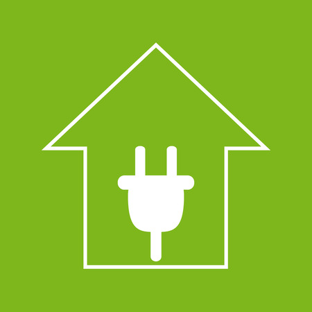 remount: Simple white house with plug on green background. Electricity symbol