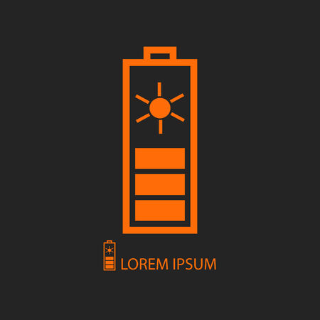 solar battery: Orange solar battery  as icon with copyspace on black background Illustration