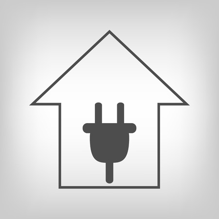 remount: Simple grey house with plug. Electricity symbol Illustration