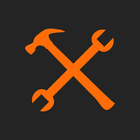 remount: Crossed orange hammer and spanner. Tools icon on black background, repair symbol Illustration