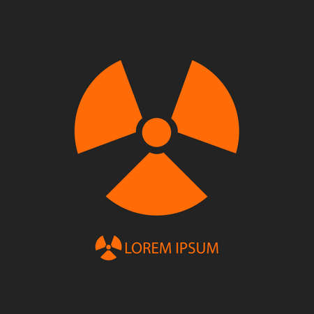 radiation sign: Orange radiation sign as icon on black background with copyspace
