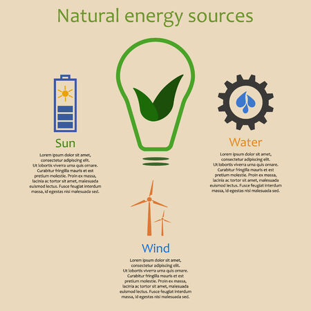 hydroelectric power station: Infographics of natural energy sources. Solar battery, wind turbine and hydroelectric power station