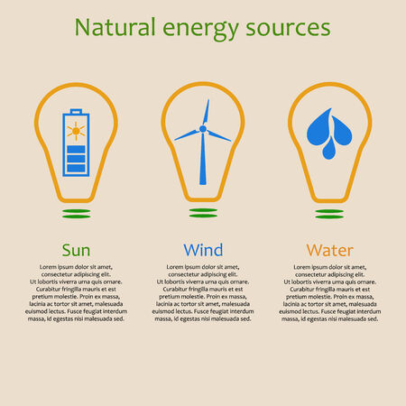 energy sources: Infographics of natural energy sources. Solar, wind and water power signs with copyspace Illustration