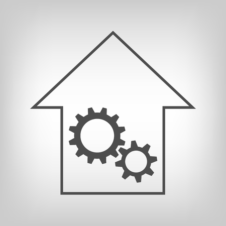 remount: Grey house with gear wheels as  repair or engineering  sign