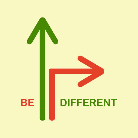etre diff�rent: Illustration avec deux fl�ches, une droite, une autre tournure. Soyez diff�rent concept unique abd Illustration