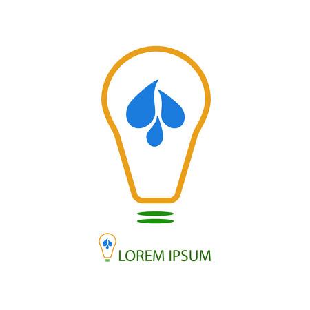 hydroelectric station: Colorful logo di energia dell'acqua. Lampadina con gocce come logo con copyspace, concetto di fonte ecologica di energia, stazione idroelettrica