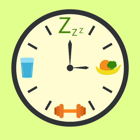 regimen: Clock with water, dream, food and sport signs instead of hours. Healthy life concept