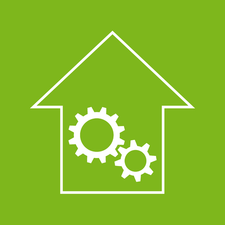 remount: White and green house with gear wheels as repair or engineering sign