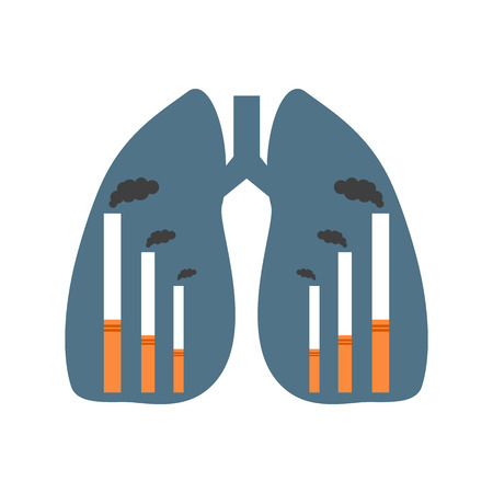harm: Human lungs with cigarettes presented as smoking factories. Unhealthy way pf life
