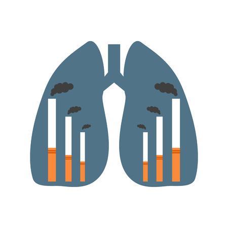 unhealthy: Los pulmones humanos con cigarrillos presentados como f�bricas fumadores. Manera no saludable vida pf