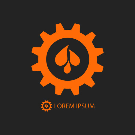 hydro electric: Black and orange gear wheel with water drops as icon. Plumbing or engineering sign Illustration