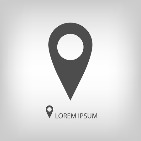 geolocation: Geo pin as icon with copy space in grey colors. Geolocation and navigation