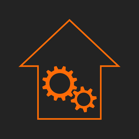 remount: Black and orange house with gear wheels as repair or engineering sign