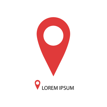 geolocation: Red geo pin as icon with copy space on white. Geolocation and navigation Illustration