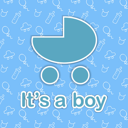 nurser: Card design for newborn boy. Blue baby carriage on doodle background with It is a boy text Illustration