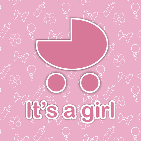 nurser: Card design for newborn girl. Pink baby carriage on doodle background with It is a girl text Illustration