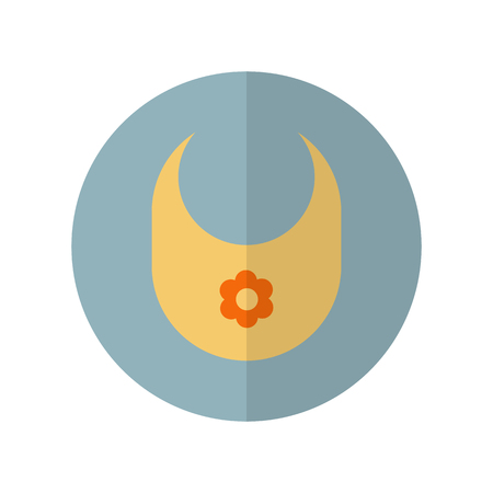 Round baby burp cloth icon in flat style