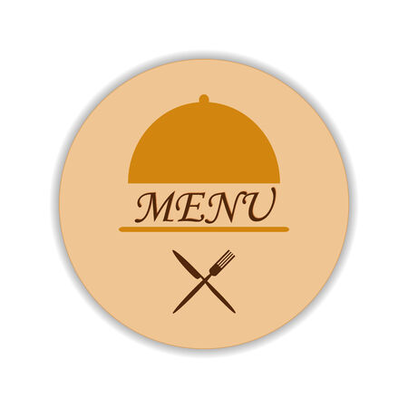 flatware: Restaurant label with menu text in cloche and crossed flatware beneath Illustration