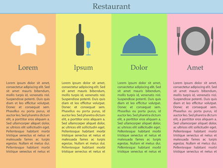flatware: Restaurant infographics with four columns. Chef hat, wine andd glass, cloche and flatware with plate Illustration