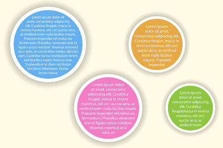 size: Infographics with blue, purple, orange and green circles of different size Illustration