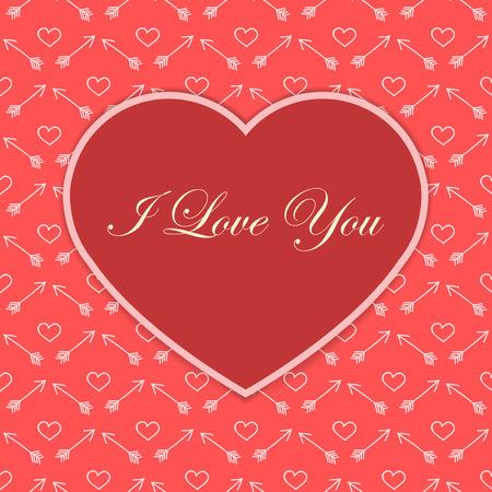 赤いのバレンタイン カードの心私はあなたを愛して落書き背景上のテキスト