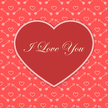 affairs: Valentine card with red heart and I love you text on doodle background
