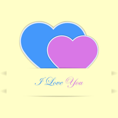 affair: Valentine card with two hearts, blue and pink and I love you text