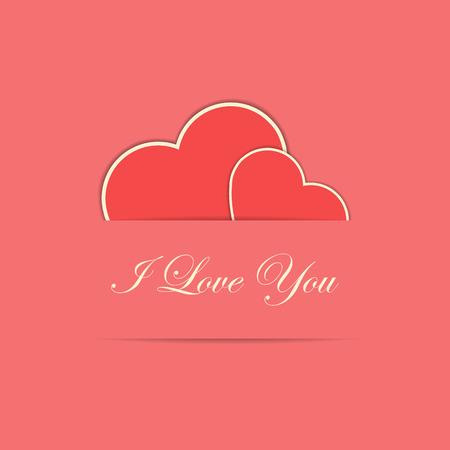バレンタイン カード 2 つと赤色の紙のスタイルの心私はあなたを愛して本文